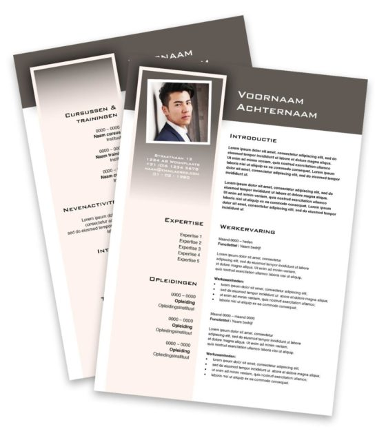 CV layout Square in de kleur lichtbruin. Professionele cv layout Square: maak je cv professioneel met professioneel cv sjabloon Square